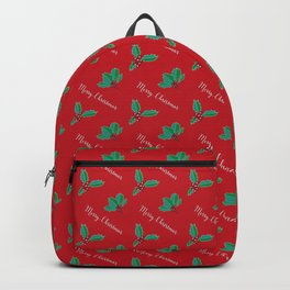 Holy Berry Merry Christmas on Red Backpack