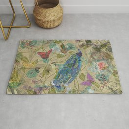 Vintage Ivory Green Blue Pink Peacock Collage Rug