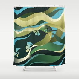 Humming Bird In Green Colors/ Bird Illustration/ Teal Sky Shower Curtain