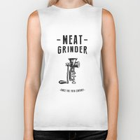 meat Biker Tanks featuring Meat Grinder by UiNi