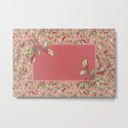 Antique Boho Floral IV - Rose and Pale Pink Metal Print