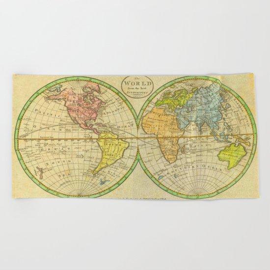 Vintage World Map 1798 Beach Towel