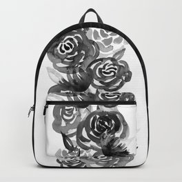 Black and White Watercolor Floral Stripe Backpack