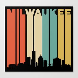 Retro 1970's Milwaukee Wisconsin Downtown Skyline Canvas Print
