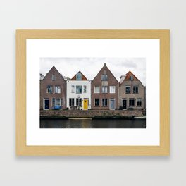 Row houses and Canal in The Netherlands Framed Art Print
