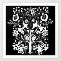 kalamkari black Art Print