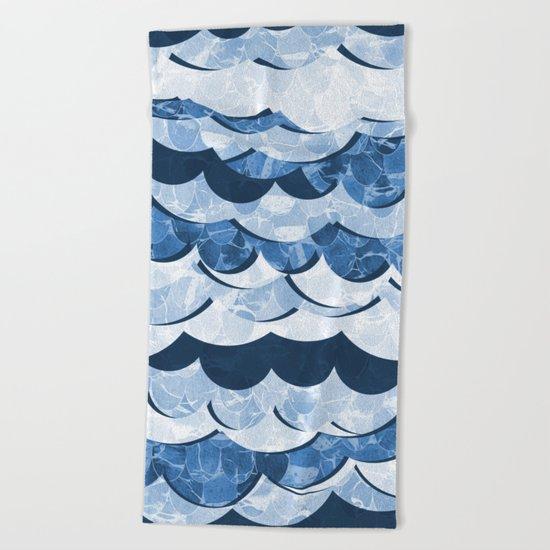 Abstract Blue Sea Waves Design Beach Towel