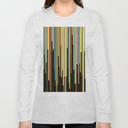 Night's End - Abstract, Geometric Color Stripes Long Sleeve T-shirt