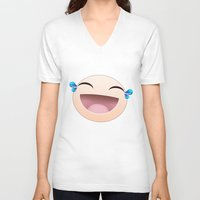 sticker V-neck T-shirts featuring SMILEY STICKER by ADAMLAWLESS