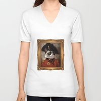 grumpy V-neck T-shirts featuring Angry cat. Grumpy General Cat.  by UiNi