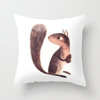 squirrel Throw Pillows featuring Squirrel by Chuck Groenink