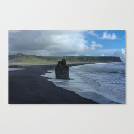Black Sand Beach Travel Photo Canvas Print
