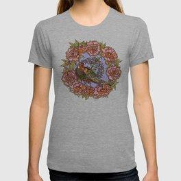 Lovebirds With Peony Wreath T-shirt