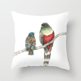 Elegant Trogon & Fledgling Throw Pillow