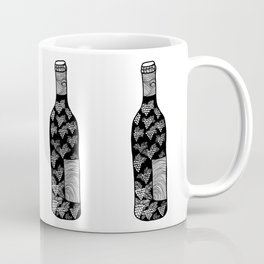 Wine Bottle, Grape Pattern, Wine Lovers Illustration, Black & White Coffee Mug