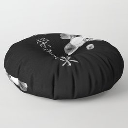 Japanese Orchids in Black Floor Pillow