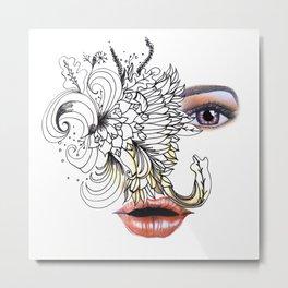 rostros y flores Metal Print