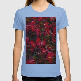 Red flower pattern T-shirt