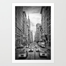 NEW YORK CITY 5th Avenue Traffic | Monochrome Art Print