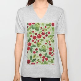 Watercolor Holly Pattern - Kitschy Christmas Holiday Print in Green and Red Unisex V-Neck