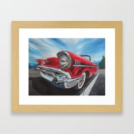 Red 57 Bel Air Convertible oil and acrylic painting Framed Art Print