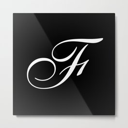 Elegant And Stylish Black And White Monogram F Metal Print
