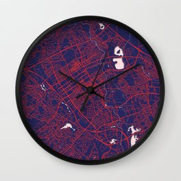 Milton Keynes, England, Blue, White, City, Map Wall Clock