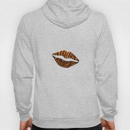 Tiger Pattern Lips Stripes Fur Mouth Animal Print Hoody