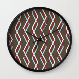 Mistlesnow Interweaving Zigzags on Brown Wall Clock