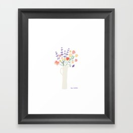 Watercolor floral bouquet in tall pitcher Framed Art Print