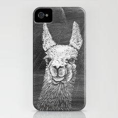 Black White Vintage Funny Llama Animal Art Drawing Slim Case iPhone (4, 4s)