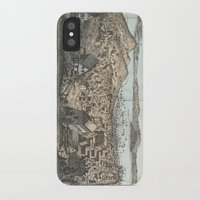 san francisco map iPhone & iPod Cases featuring Vintage Pictorial Map of San Francisco (1854) by BravuraMedia