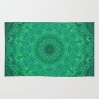 mozart Area & Throw Rugs featuring Green Austrian Lake by T.Res