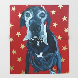 Starry Leonard the Black Lab Dog Portrait Throw Blanket