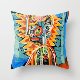 """Child"" street art brut expressionist digital painting Throw Pillow"