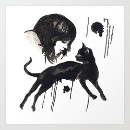 Black Pixel cat  Art Print