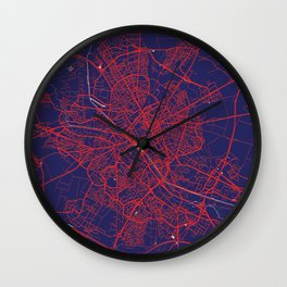 Reims, France, Blue, White, City, Map Wall Clock