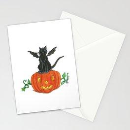 Pirate-Bat-Cat { + Pumpkin Pal Jack O Lantern . Halloween }   Stationery Cards