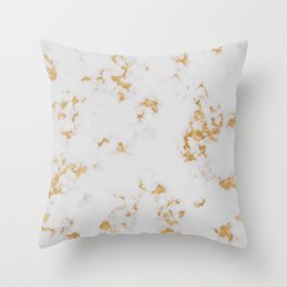 White Marble with Gold Foil Throw Pillow