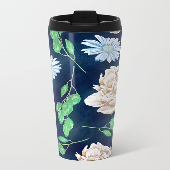 Rose Garden Navy Blue Antique Floral Pattern Metal Travel Mug