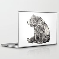 death note Laptop & iPad Skins featuring Bear // Graphite by Sandra Dieckmann