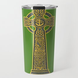 Celtic Cross with Harp Travel Mug