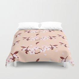 sakura flowers on peach background Duvet Cover