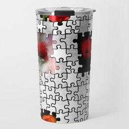 poppy love in puzzle design Travel Mug