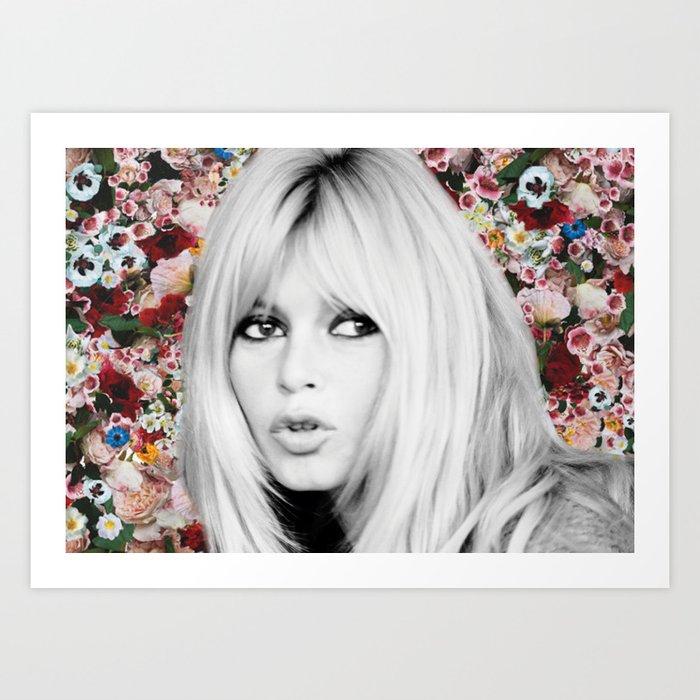brigitte bardot flowers Art Print