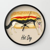 hot dog Wall Clocks featuring Hot Dog by Dano77