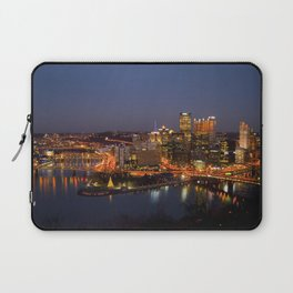 Pittsburgh, Pennsylvania Downtown Night Time River with Bridges Laptop Sleeve