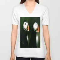 puffin V-neck T-shirts featuring PUFFIN PARADE by FOXART  - JAY PATRICK FOX