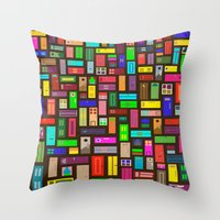 doors Throw Pillows featuring Doors - Black by Finlay McNevin