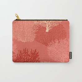 Fan Coral Print, Shades of Coral Orange Carry-All Pouch